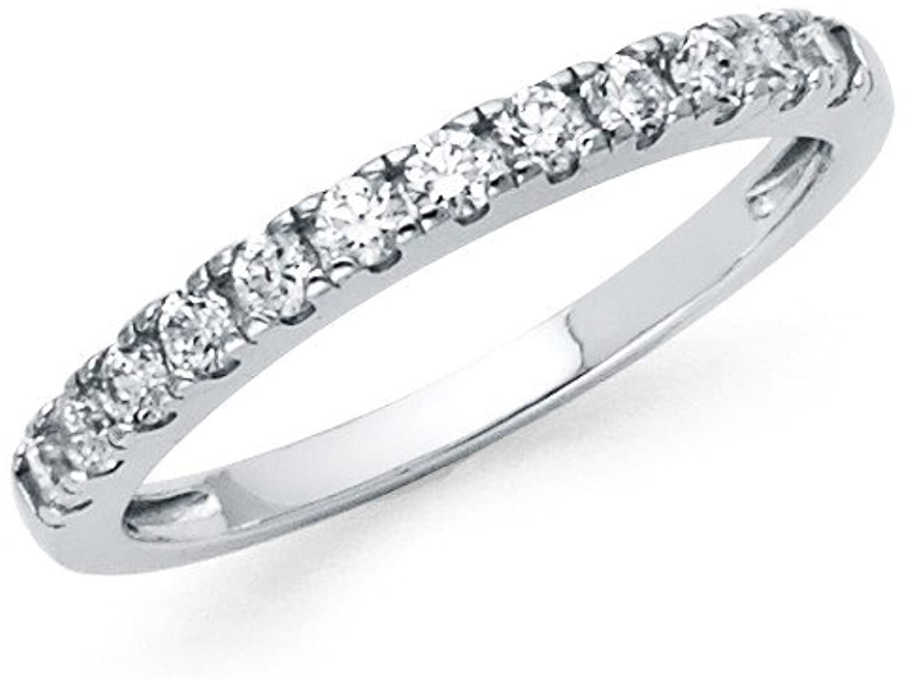 FB Jewels 925 Sterling Silver Ring Round Channel Set Cubic Zirconia CZ Anniversary Wedding Band