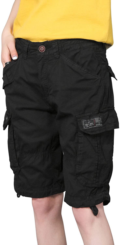 chouyatou Women's Casual Loose Print Multi-Pockets Twill Bermuda Cargo Shorts