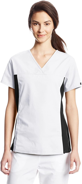 CHEROKEE Women's V Neck Scrubs Shirt, White, Small