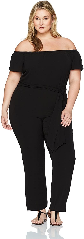 Tahari by Arthur S. Levine Women's Plus Size Cold Shoulder Pebble Crepe Jumpsuit