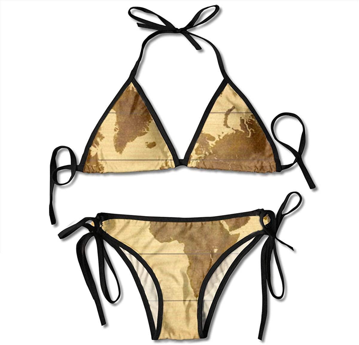 ZMagwa Womens String Triangle Bikini Set Two Piece Large Black World Swimsuit