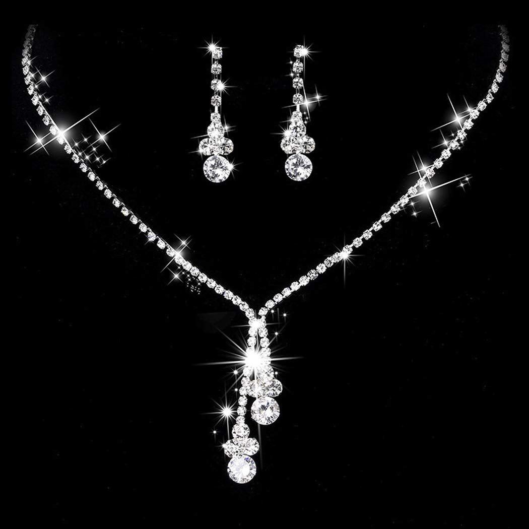 Yean Bride Wedding Necklace Earrings Set Silver Crystal Jewelry Set Bridal Choker Necklace for Women and Girls