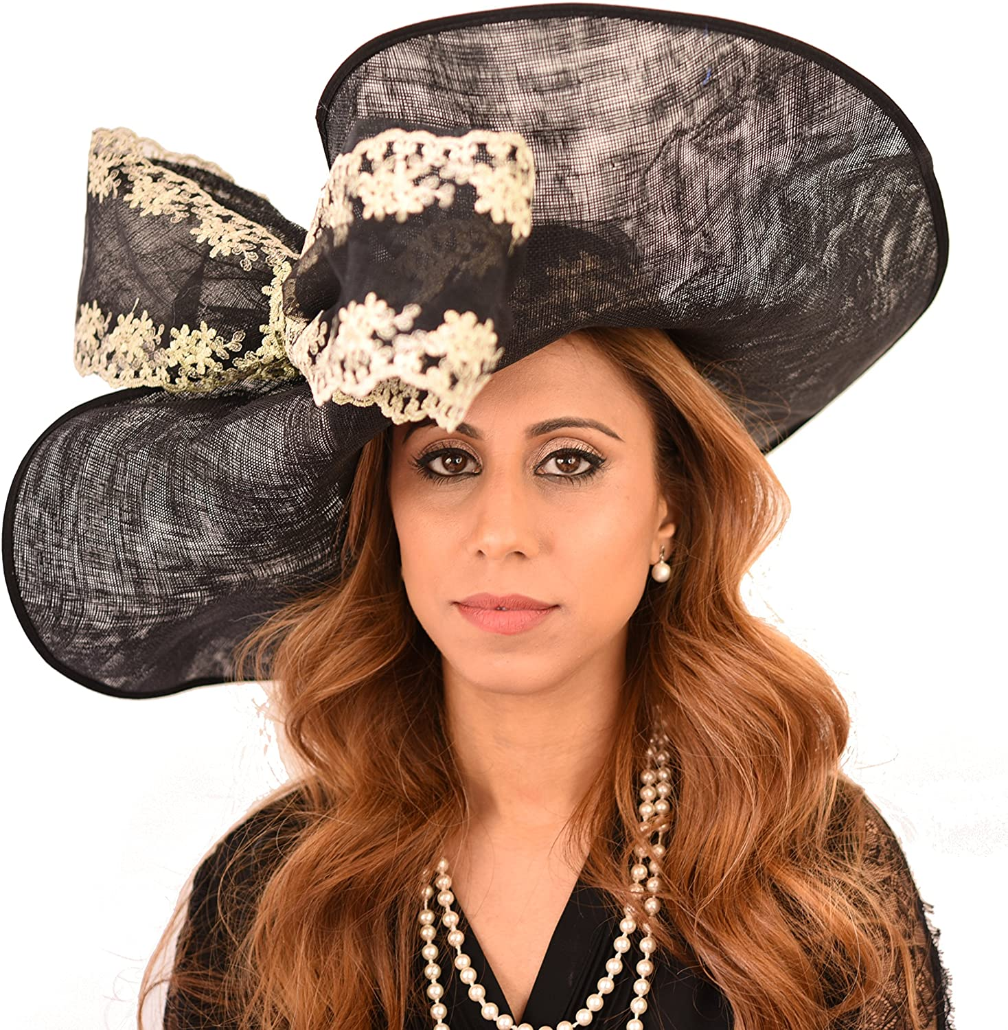 Gorgeous Grey Wagtail Embroidered Sinamay Bow Ascot Derby Hat -
