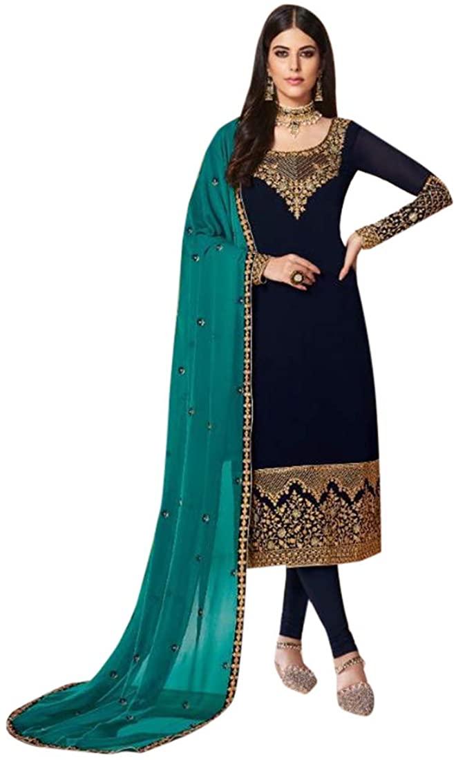 Ethnic Latest Blue Real Georgette Straight Suit Churidar Pakistani Punjabi Party Cocktail Wear Eid Fesrtive Semi Stitched Women 8780