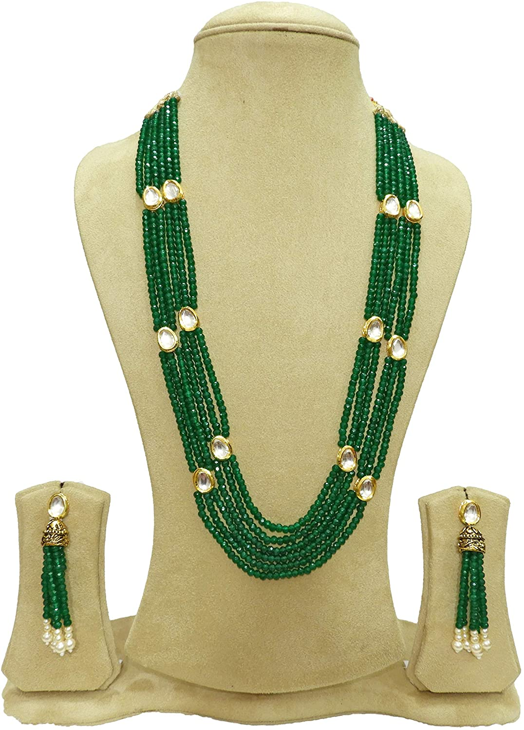 BabosaSakhi Tradition Kundan Green Onyx Bead Long String Ethnic Necklace
