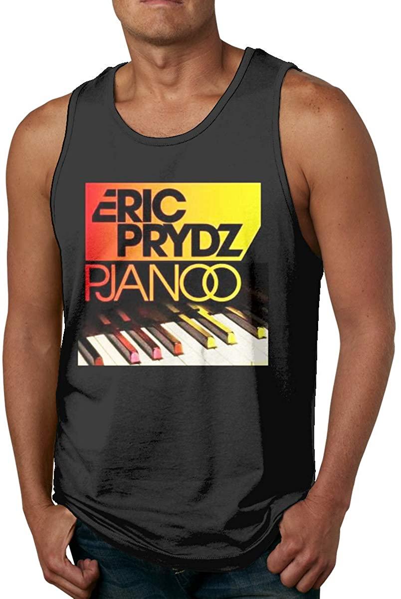 MaddLees Eric Prydz - Pjanoo Mens Tank Tops Sleeveless Soft Vest Crew Neck Shirts Black