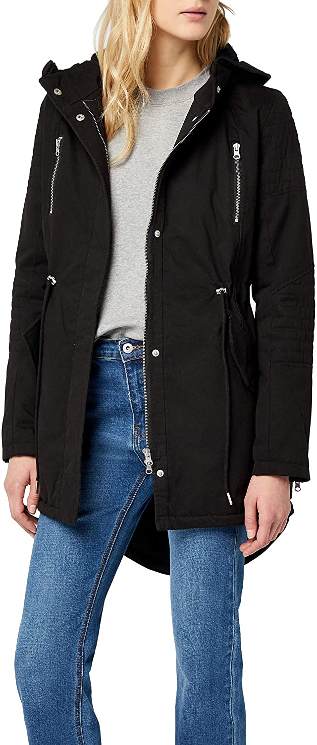 Ladies Sherpa Lined Cotton Parka black M
