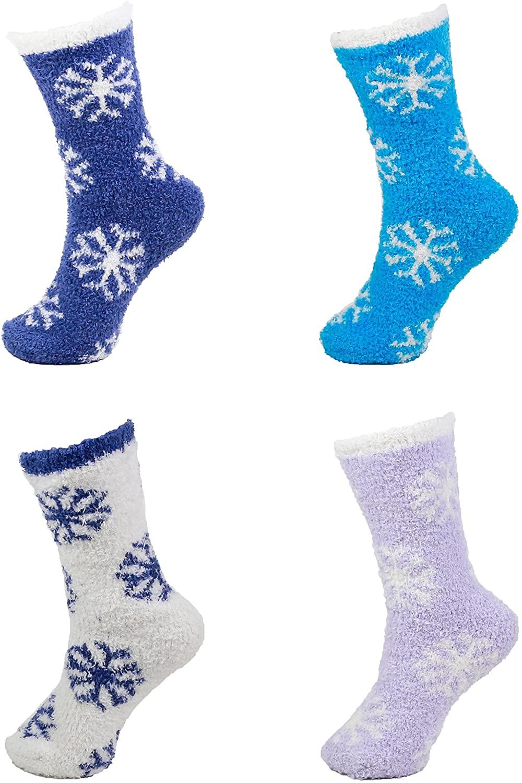 BambooMN Brand - Extra Large Super Soft Warm Cozy Fuzzy Snowflake Socks