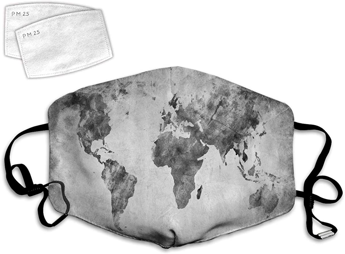Multi Usage Face Cover UP Vintage World Map with Dark Nostalgic Tones Featured Displays Background Image Balaclava Reusable Windproof Mouth Cover with 2 Filter