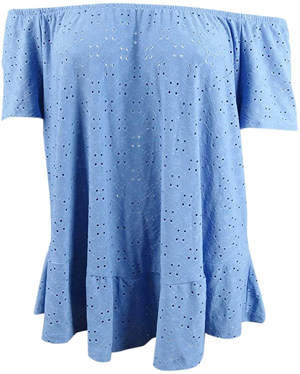 NY Collection Womens Plus Eyelet Off-The-Shoulder Peasant Top Blue 2X