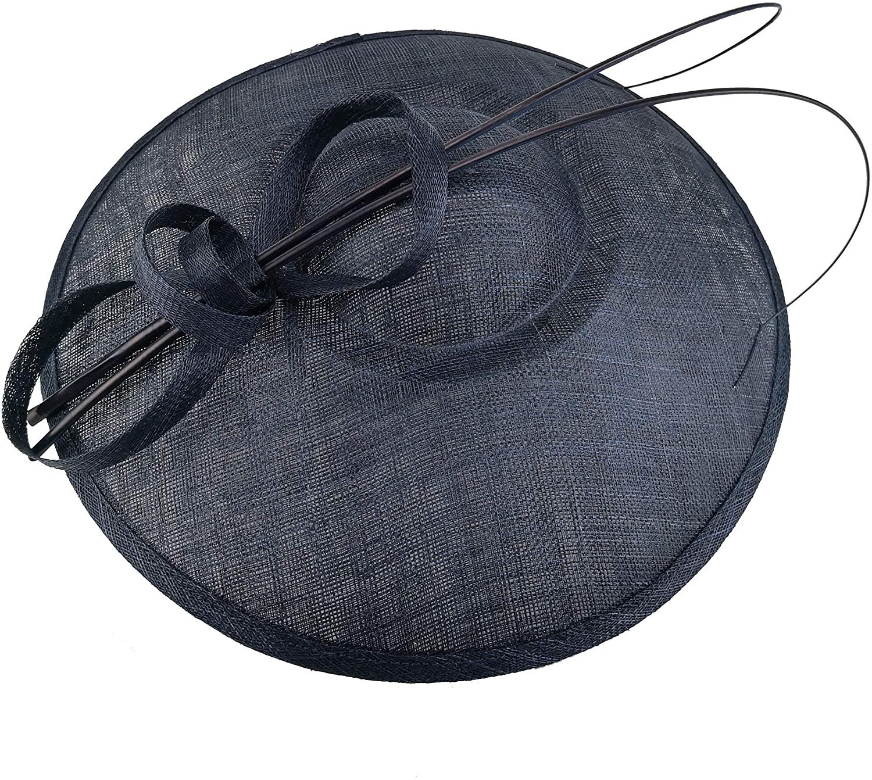 Dilijo Fascinator Hats for Women 3 Layers Sinamay Wide Brim Hat Kentucky Derby Wedding Headband Tea Party
