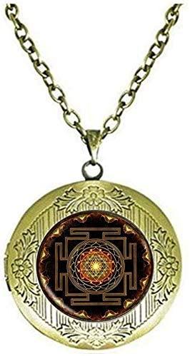 Sri Yantra Jewelery Locket Necklace Sacred Geometry Locket Necklace Glass Jewelry Mandala Locket Necklace Women Jewelry