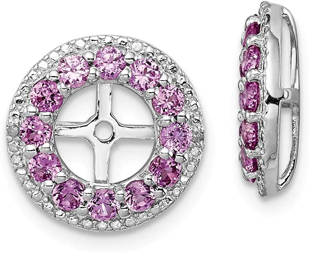 Solid 925 Sterling Silver Diamond and Created Pink Sapphire Earring Jacket 12mm (.014 cttw.)