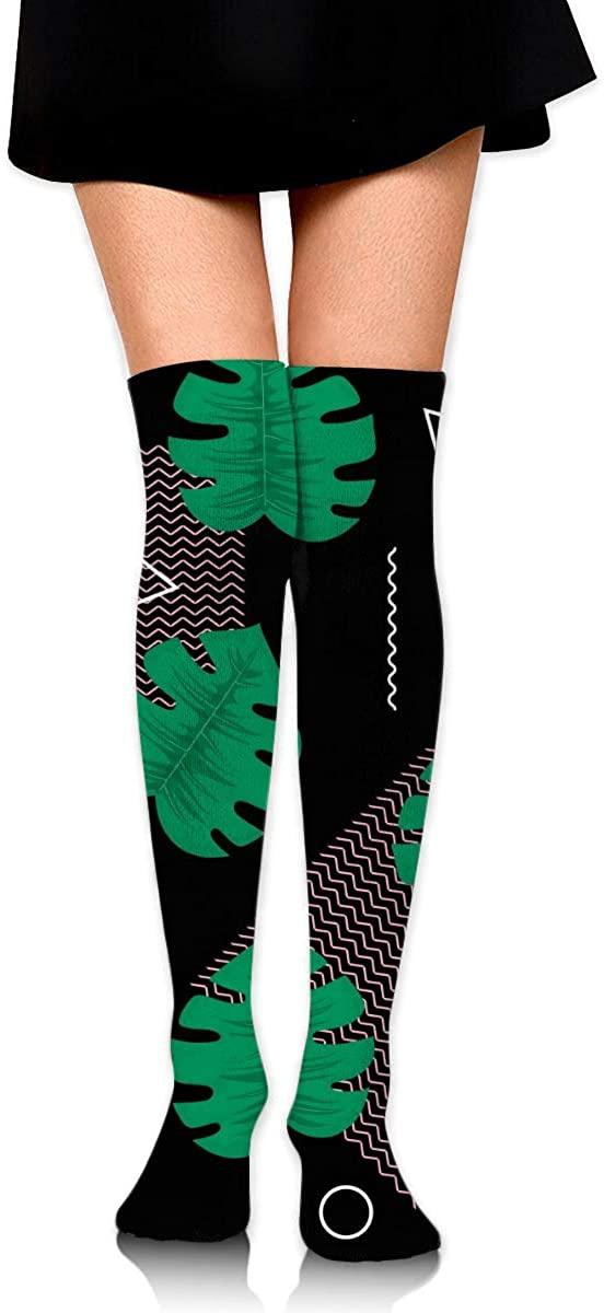 Dress Socks Tropical Leaf Jungle Math Geometry Long Knee Hose Hold-Up Stockings