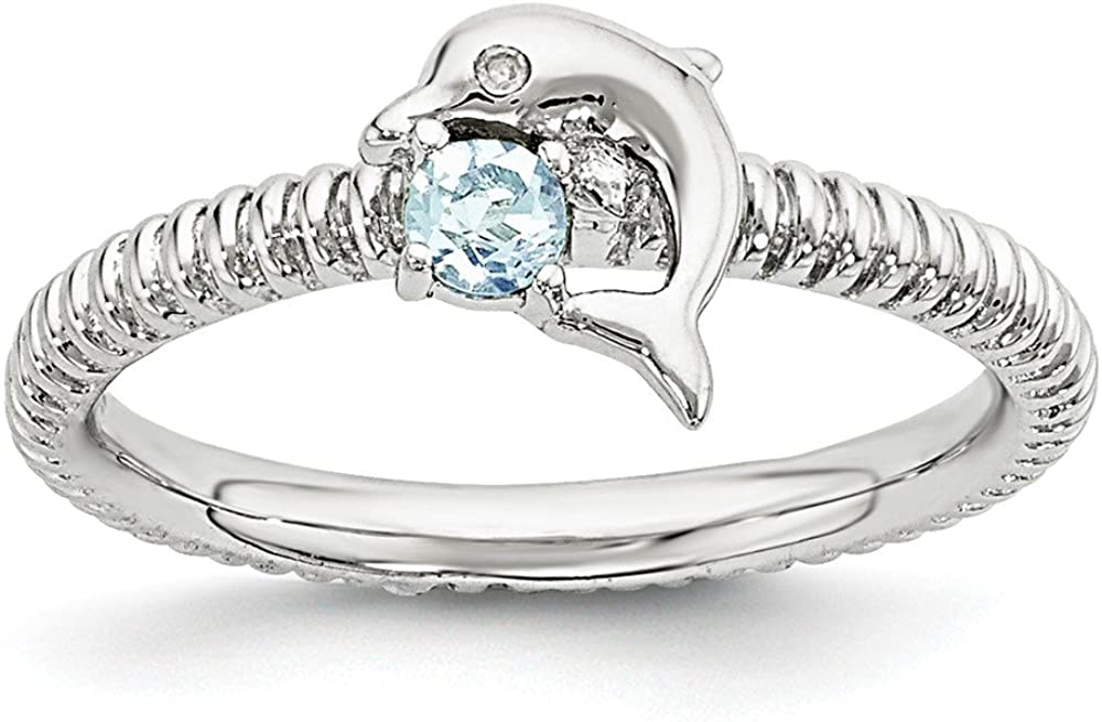 Sterling Silver Stackable Expressions Blue Topaz and Diamond Dolphin Ring Size 6