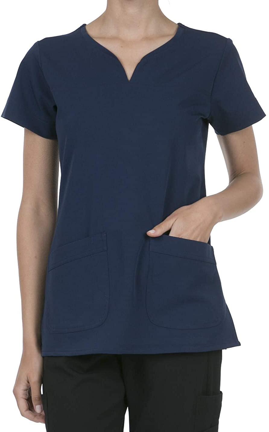 SHOP TIRZAH Women's Uniform Scrubs Medical 2 Pocket Scrub Top, Navy, Large