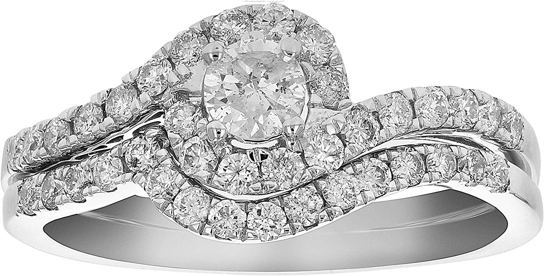 3/4 cttw Diamond Prong Set Wedding Engagement Ring Set 14K White Gold Bridal