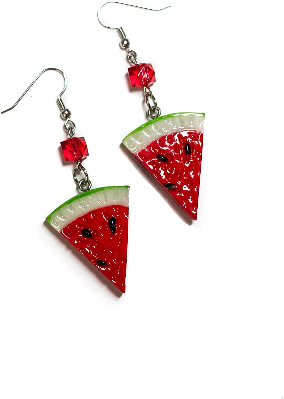 Retro Watermelon Fruit Slice Beaded Hypoallergenic Hook Earrings