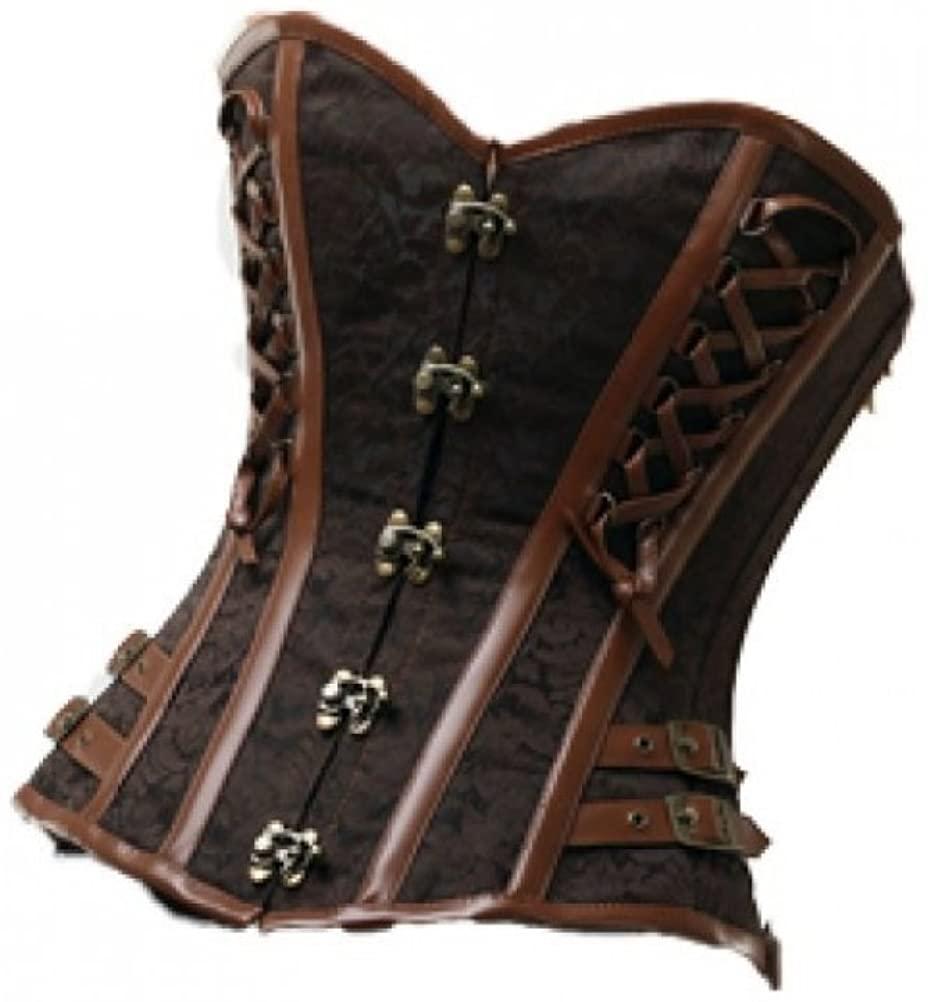 Sexy Brown Brocade Leather Goth Steampunk Bustier Waist Training Overbust Corset