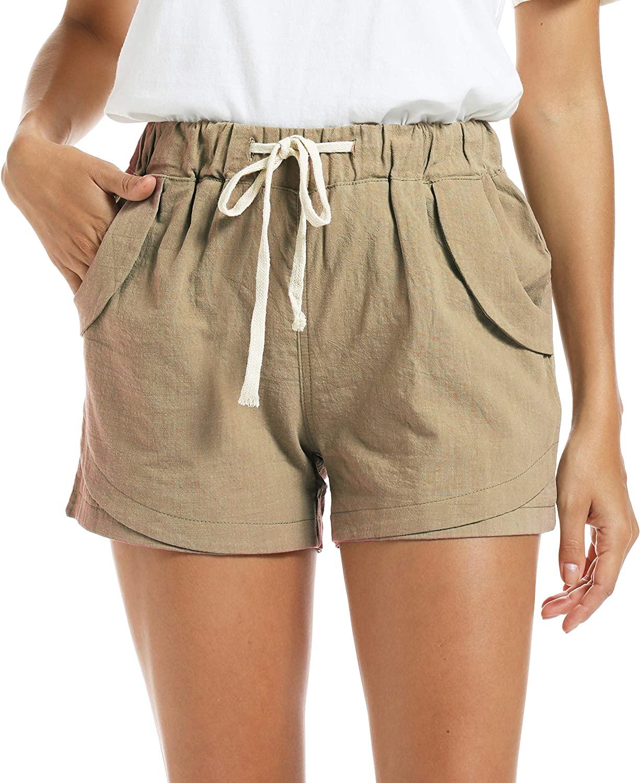 NEWFANGLE Women's Cotton Linen Causal Shorts Comfy Beach Short Drawstring Elastic Waist Shorts (XX-Large, Khaki)