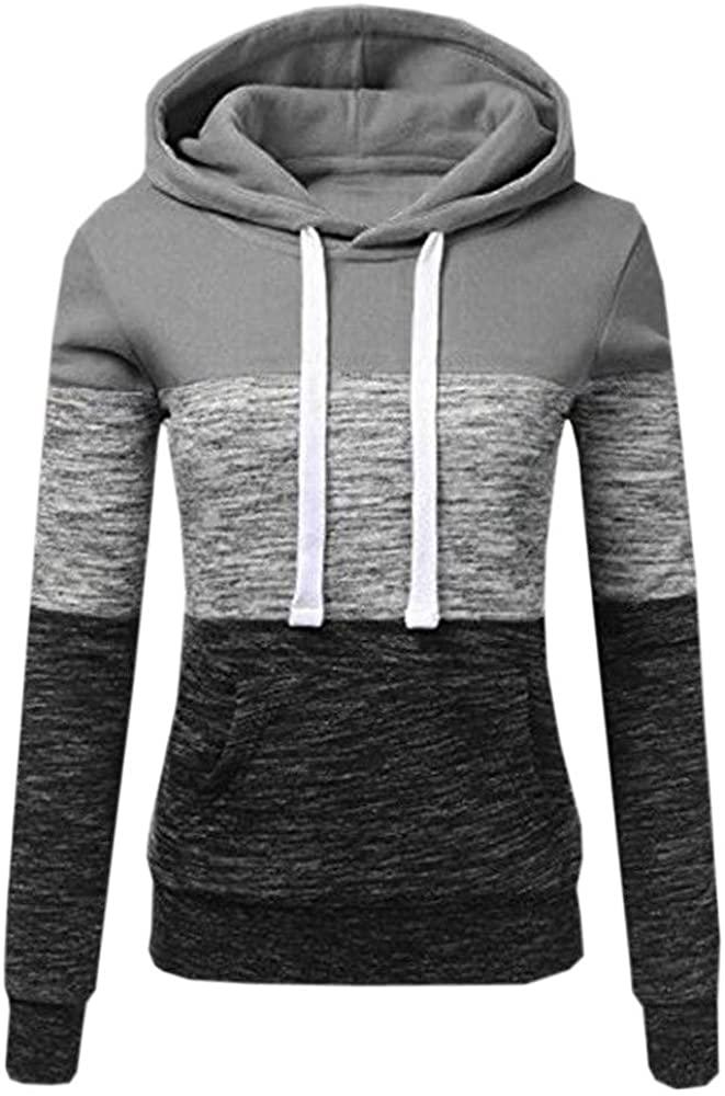 Hunauoo Women's Lightweight Pullover Stripe Hoodie Drawstring Sweatshirt Plus Size Tunic Tops