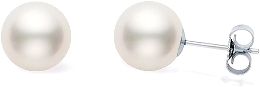 Japanese White Akoya Cultured Pearl Stud Earrings for Women AA+ Quality Sterling Silver