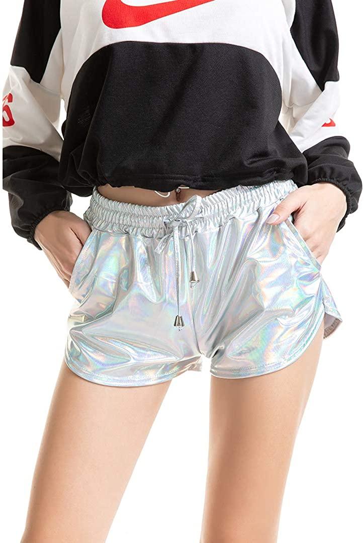 Radish Stars Women Shiny Metallic Shorts with Elastic Drawstring for Summer Yoga Outfit