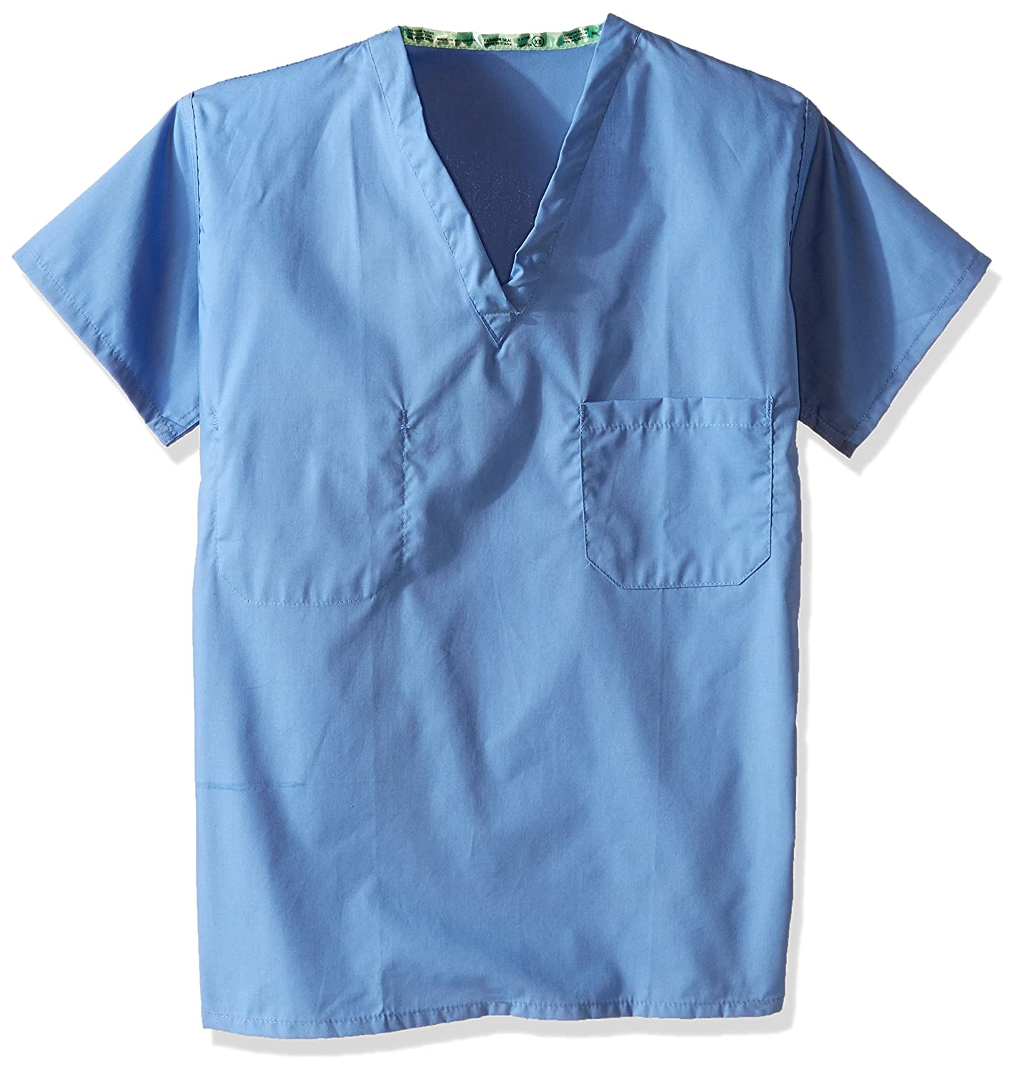 Worklon 6796 Polyester/Cotton Unisex Set-in Sleeve Scrub Shirt with Bartacked V-Neck, X-Small, Blue
