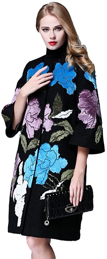 W17151 Fashion Casual Gray/Black Print 3/4 Sleeves Singal Breasted Women Elegant New Long Coat