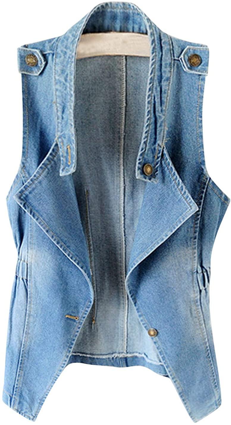 HUPOO Women's Slim Fit Denim Vests Epaulettes Open Front Jean Jacket Coats