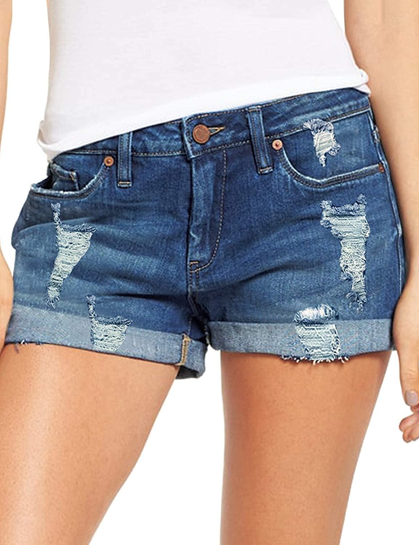 luvamia Women's Ripped Denim Jean Shorts Mid Rise Stretchy Folded Hem Short Jeans
