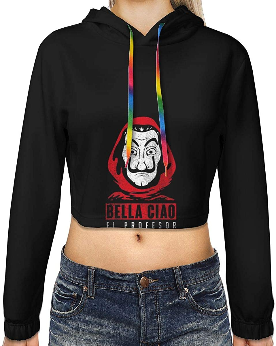 Womens Bella Ciao El Profesor Casa De Papel New Plus Velvet Fashion Hoodie Navel Exposed Hooded Sweater