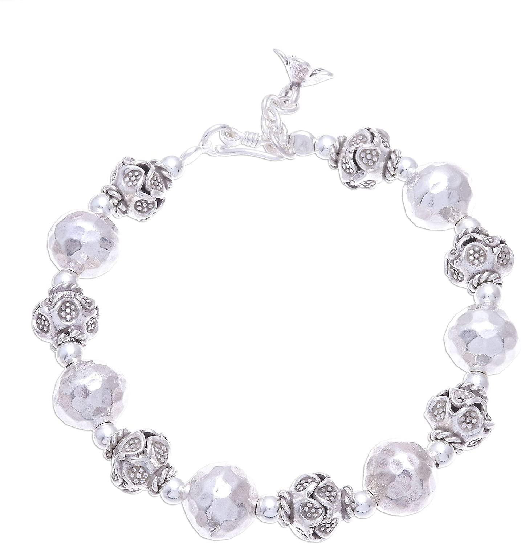 NOVICA No Stone .925 Sterling Silver Beaded Bracelet 'Grand Universe'