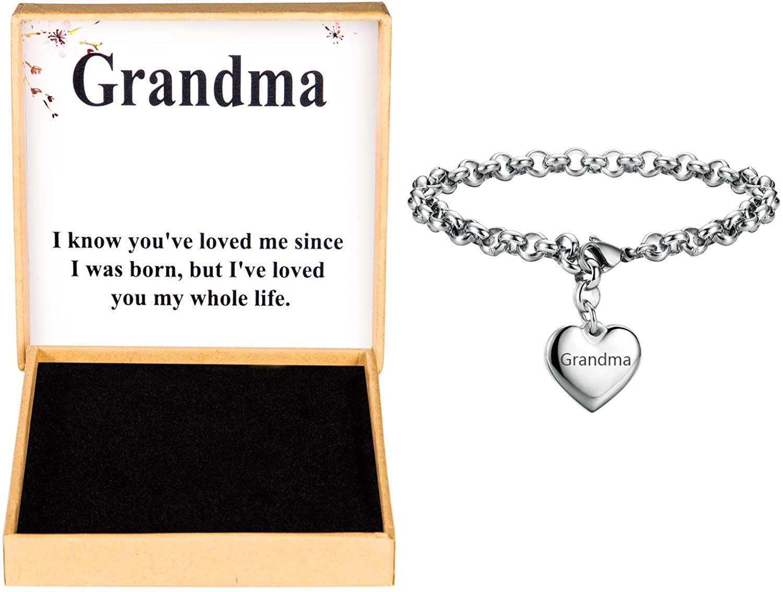 SANNYRA Mother Daughter Bracelets Stainless Steel Heart Charm Bracelet for Women Birthday Gifts for her
