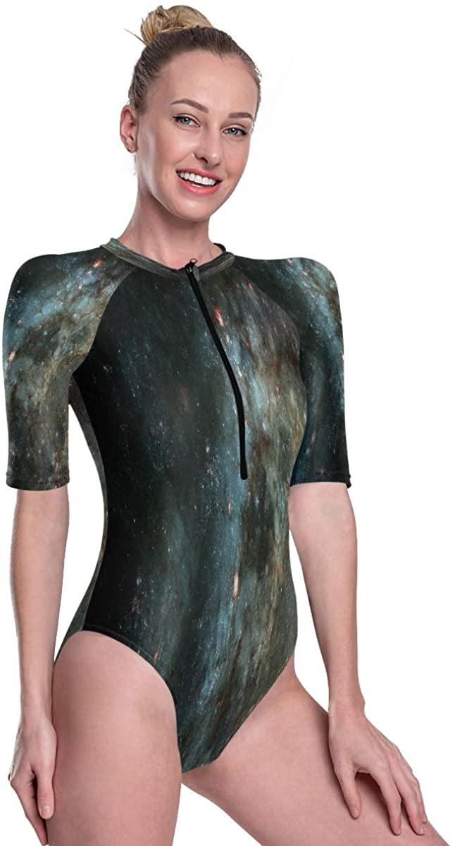 Women's One Piece Short Sleeve Rashguard Surf Swimsuit Beautiful Nebula and Bright Stars in Outer Space Bathing Suit