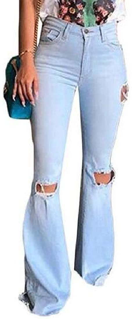 WAWAYA Women Skinny Retro Ripped Distressed High Waisted Bell Bottom Jeans Denim Pants