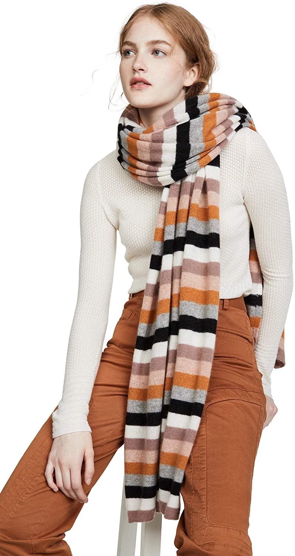 White + Warren Women's Multi Color Stripe Cashmere Travel Wrap