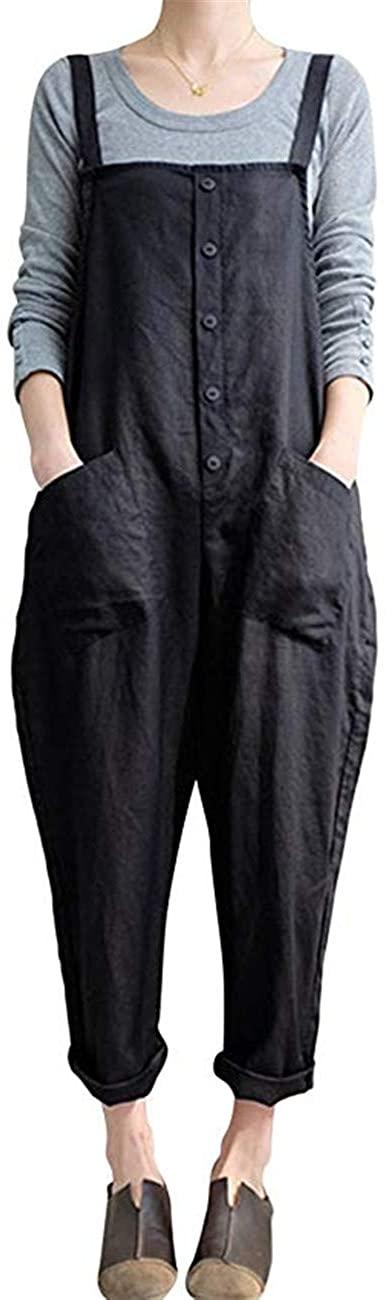 Bingbo Women Plus Size Overalls Baggy Bib Rompers Casual Wide Leg Pants Sleeveless Jumpsuit Harem Overalls Pants (Black, 3XL)