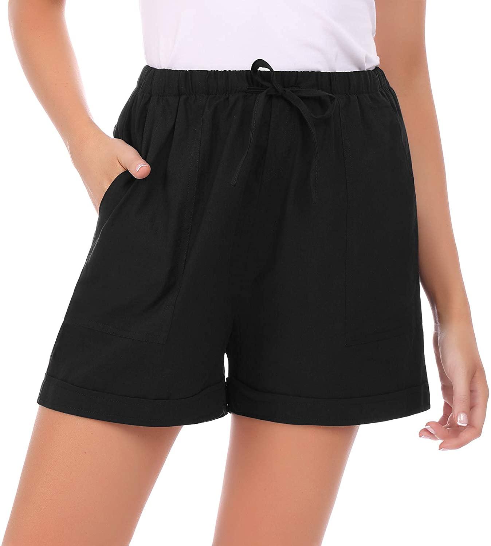 Irevial Women Casual Comfy Drawstring Elastic Waist Soild Summer Beach Shorts with Pockets