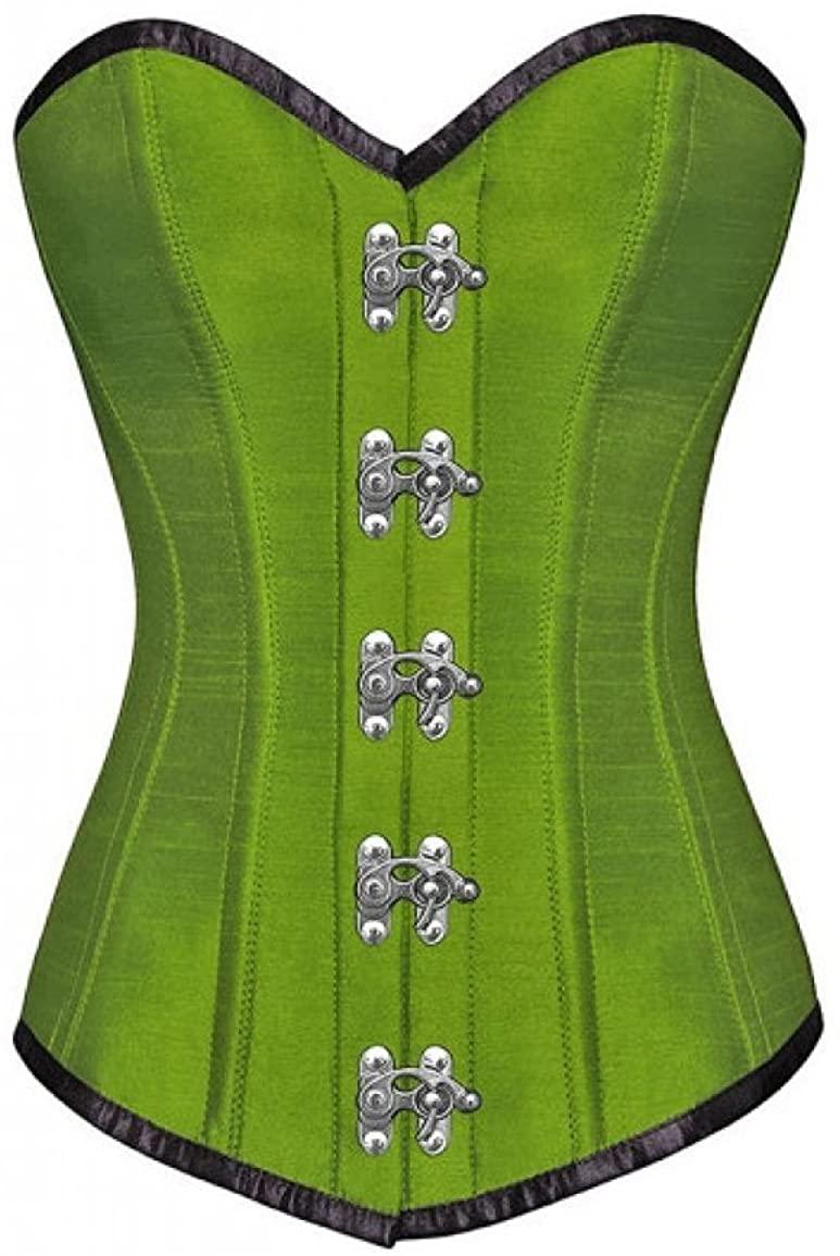 Green Silk Seal Lock Gothic Steampunk Waist Training Bustier Overbust Corset Top