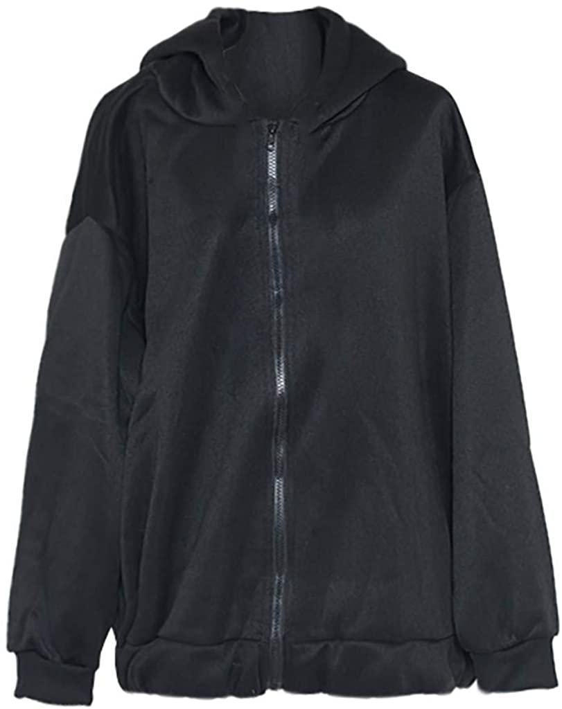 VEFSU Women Jacket Casual Sweatshirt Loose Thickening Plus Velvet Sweater (M-2XL)