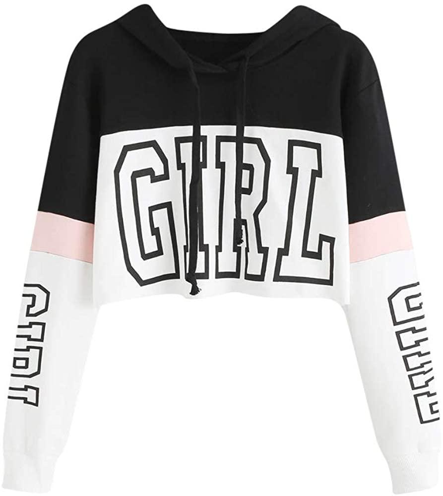 Letter Print Crop Hoodie for Women Teen Girls Fashion Long Sleeve Color Block Splice Pullover Tops Drawstring Sweatshirt