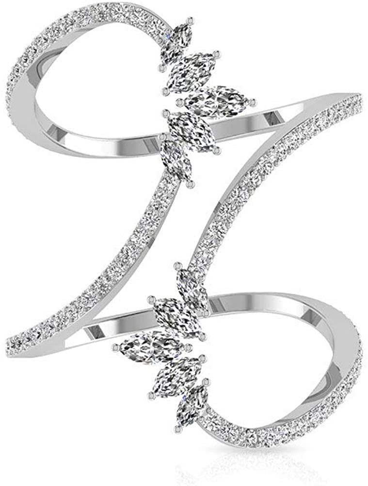 0.93 CT Marquise Round IGI Certified Diamond Cluster Wrap Ring, Unique IJ-SI Diamond Crown Adjustable Wedding Rings, Minimal Women Stackable Ring Sets, 14K White Gold, Size:US 7.0