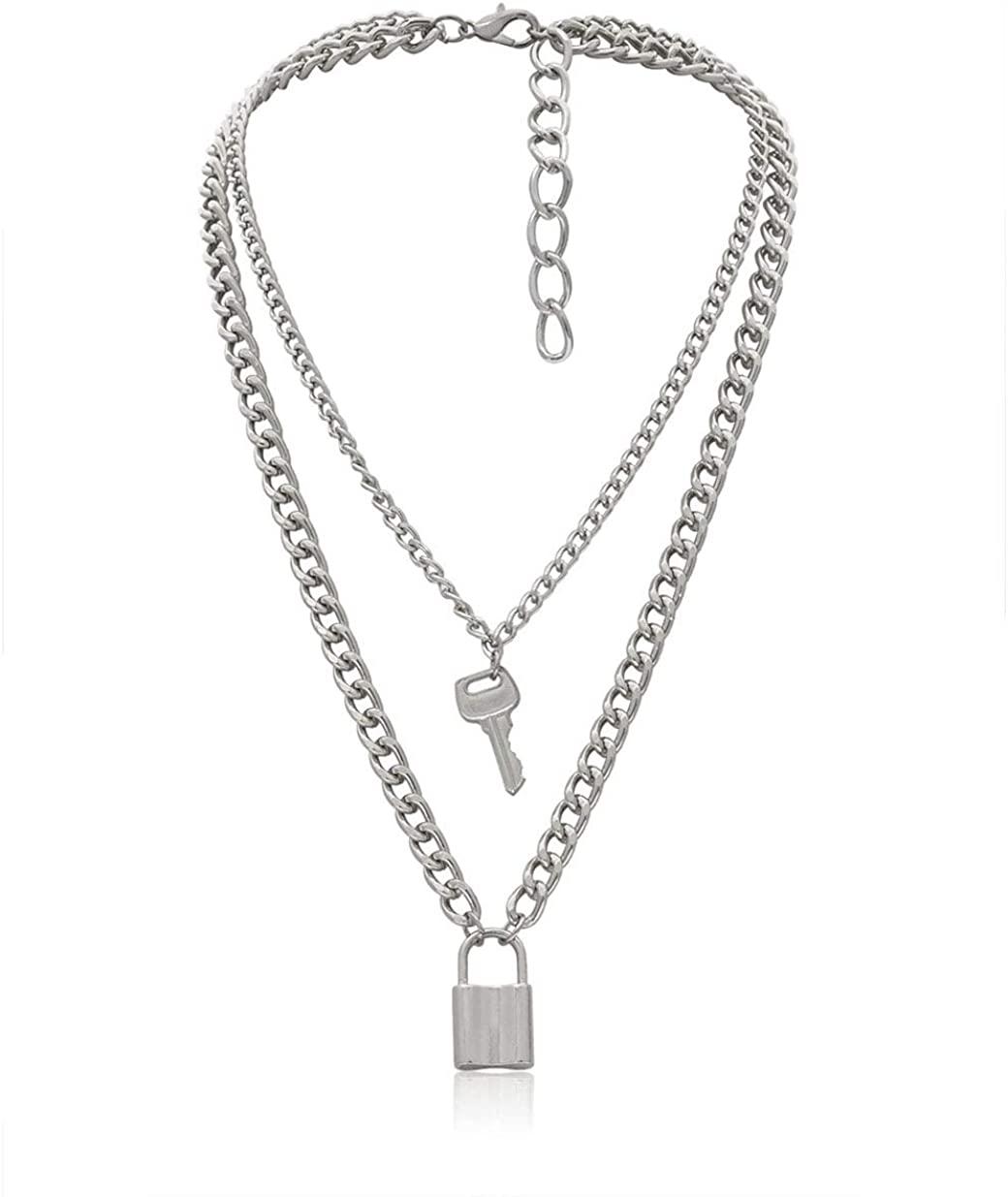 Lock Key Pendant Necklace Statement Long Chain Punk Multilayer Choker Necklace for Women Men