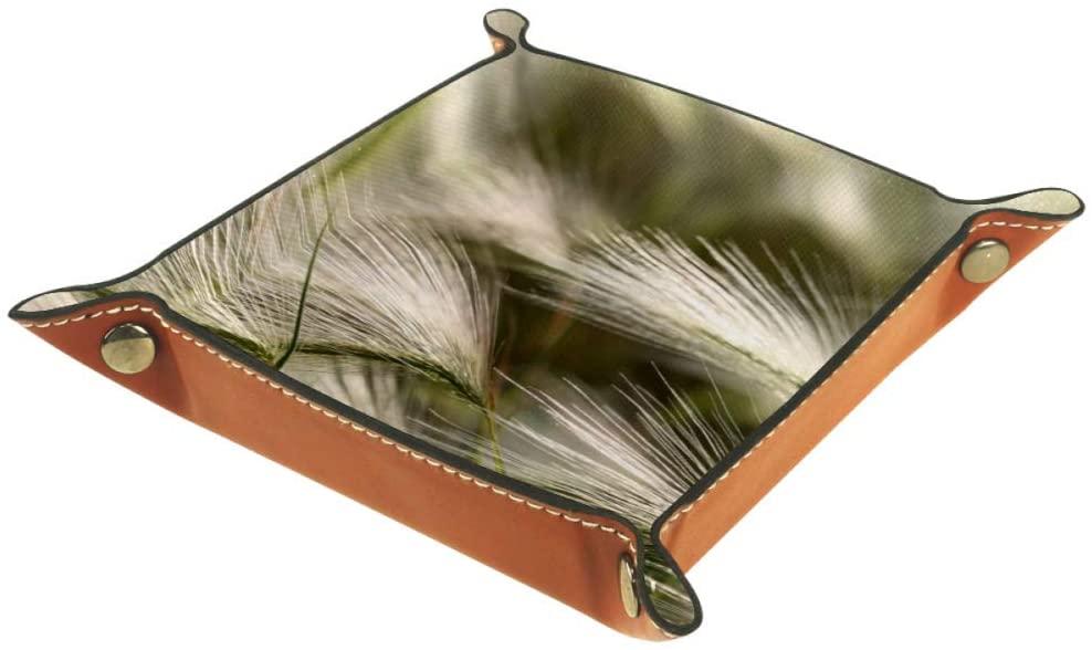 Siebzeh Bend Grass Practical Microfiber Leather Storage Tray-Office Desk Tray Bedside Caddy Storage Organizer for Wallet Key Watch Phone Jewelry, etc(16X16CM)