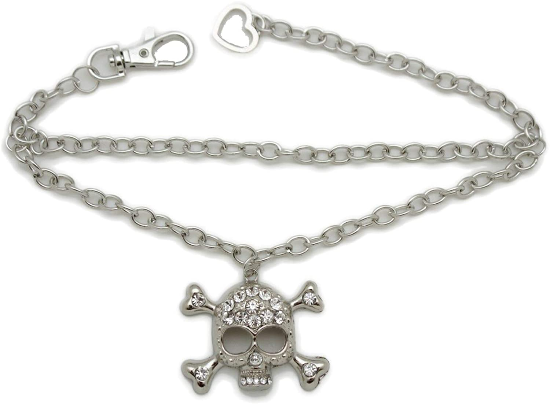 TrendyFashionJewelry TFJ Women Western Boot Chain Metal Bracelet Bling Anklet Skeleton Skull Charm Pirate Bones Silver