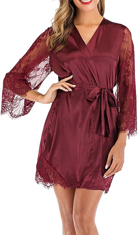 Macolily Women's Sleepwear Kimono Robe Lace Satin Silk Lingerie V-Neck Short Bridesmaids Robe Bathrobe S-XXL
