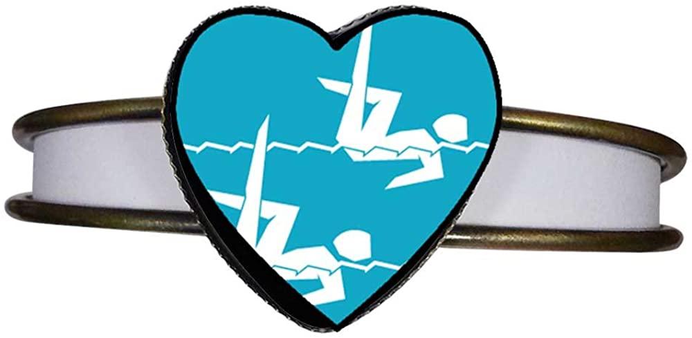 GiftJewelryShop Bronze Retro Style Olympics Women's 400m Freestyle Swimming Heart Cuff Bangle Bracelet