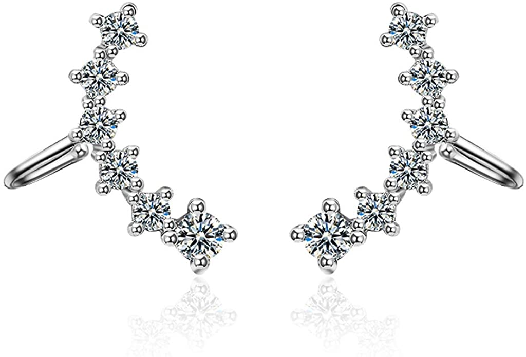 Fomissky No Pierced Ear Cuffs for Women Cartilage Earring, Cubic Zirconia Ear Crawler EarringsFashion Jewelry