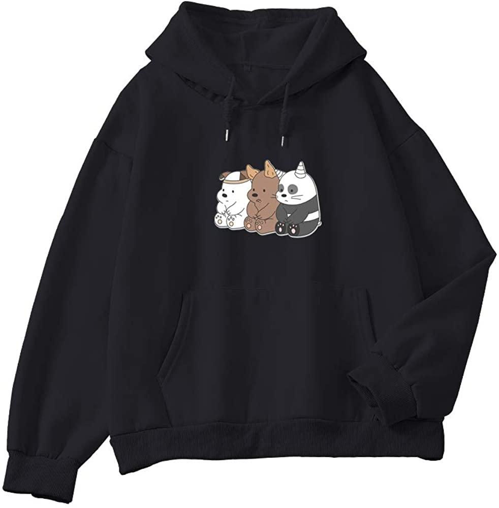 KEEVICI Hoodies for Women Aesthetic Cute Bears Printed Cotton Pocket Hooded Sweatshirt